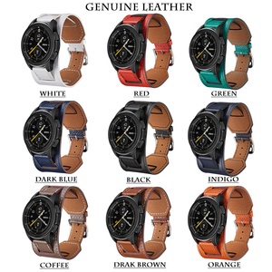 Image 5 - Cross Grain Genuine Leather Watchband For Samsung Galaxy Watch 3 41mm/42mm/Active 2 1 40mm 44mmm Universal Bracelet 20MM Strap