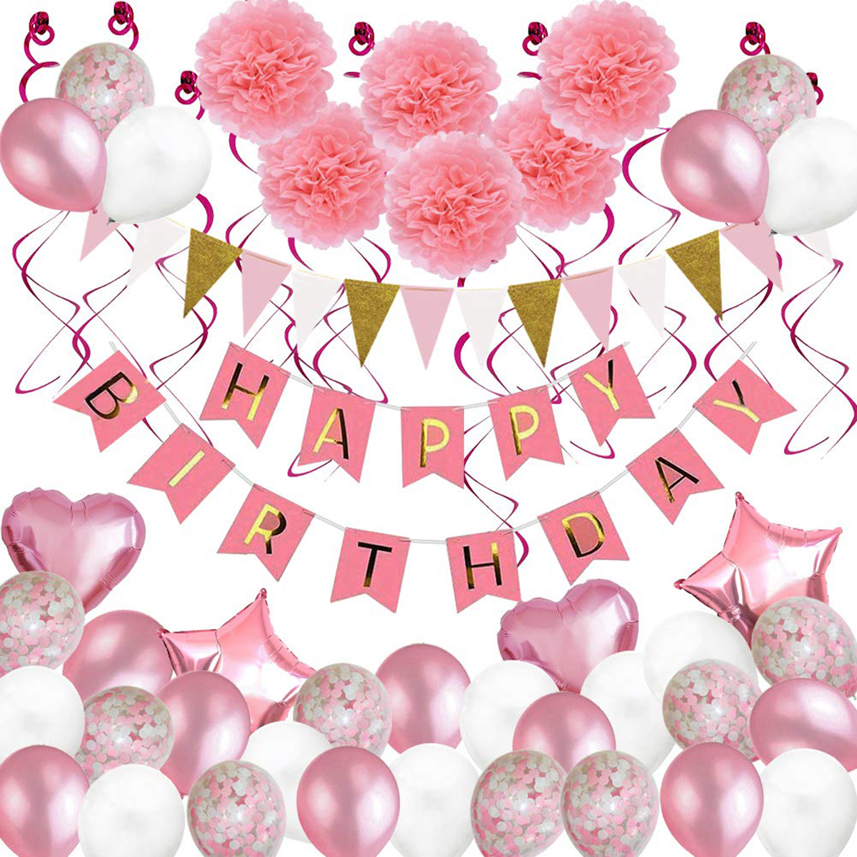 Pink Birthday Party Supplies Decor Kit Foil & Latex Balloons Happy Birthday Banner Swirls Paper Flowers Party Decor For Indoor