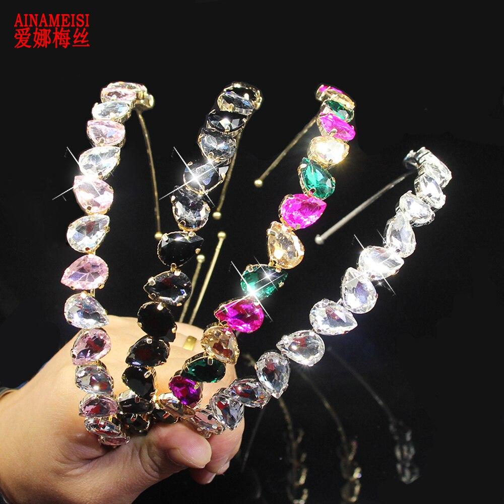 AINAMEISI Luxury Rhinestone Headband Water Drop Full Crystal Headwear Fashion Headband Bridal Crown Hair Accessories Jewelry