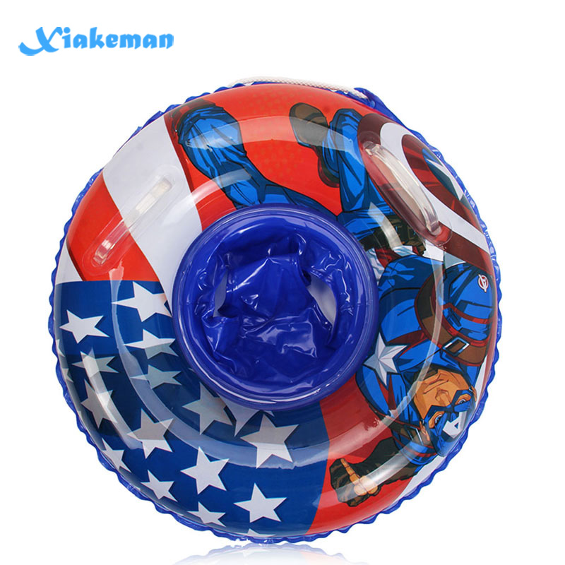 Children's Swim Ring Spider-Man And Captain America Pattern Swim Ring Underarm Inflatable Float 60cm Seat,Thickened PVC Material