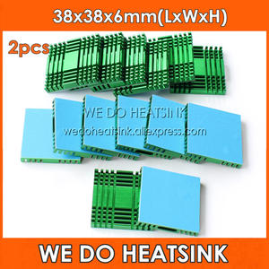 WE DO HEATSINK 2pcs DIY 38x38x6mm Cooling Radiator Green Aluminum Heat Sink for South / North Bridge Chipset With Thermal Tapes