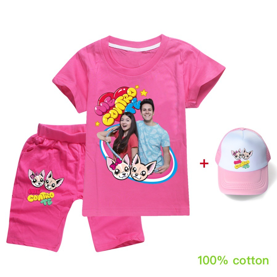 T Shirt+Shorts+Hat Me Contro Te Cotton Girls Tops Fashion Summer Clothes Kids Shirts Cartoon Child Boys Short Sleeve Clothing