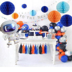 Image 4 - Outer Space Party Astronaut balloon Rocket Foil Balloons Explore Theme Party Boy Kids Birthday Party Decor Favors helium globals