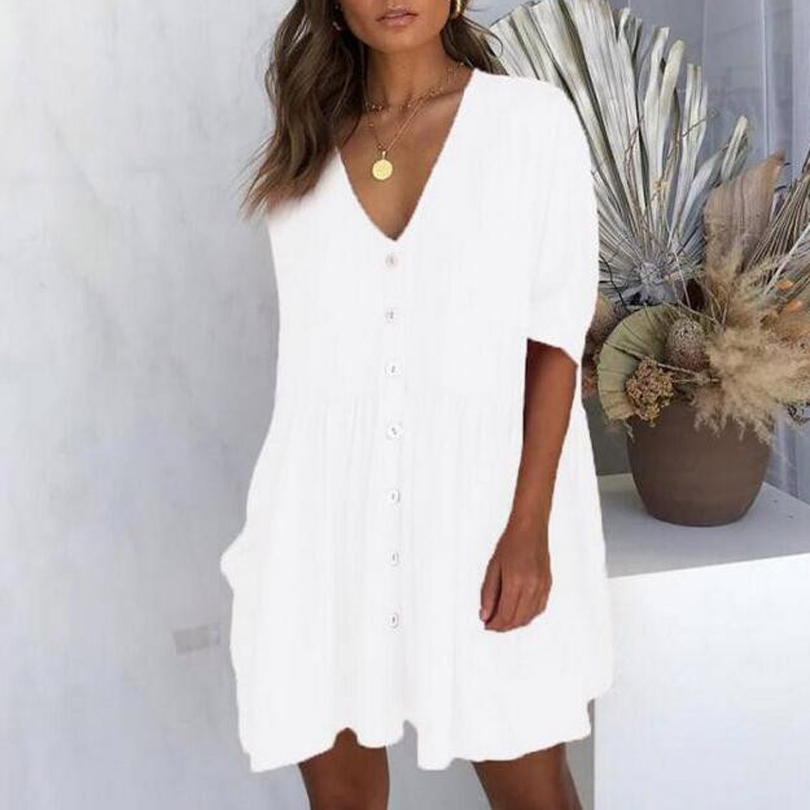 Women's Fashion Casual V-Neck Solid Short Sleeve Button Pocket Short Dress vestido de mujer summer dress платья для женщин 12