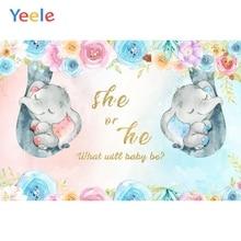Yeele Newborn Baby Shower Party Customized Flower Elephant Photography Backdrop Birthday Background Vinyl For Photo Studio