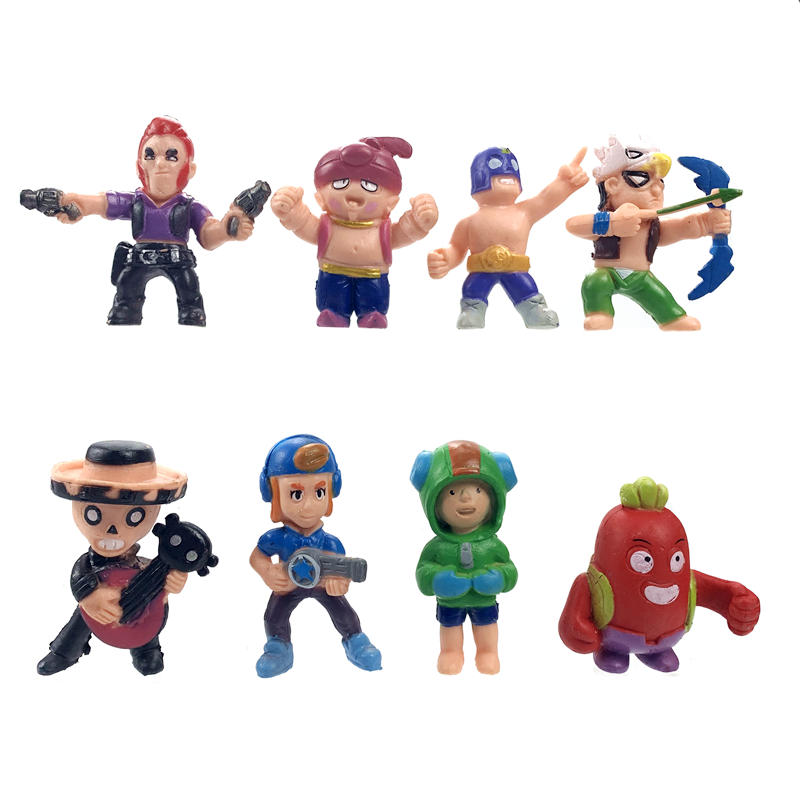 8pcs/Set Brawl Stars Game Cartoon Hero Anime Figure Model Spike Shelly Leon Primo Mortis Dolls Boy Girl Toys Kid Birthday Gift