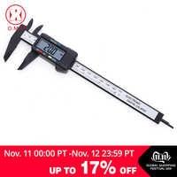 O.M.Y 1 Uds. Herramienta de medición 0-150mm 6 pulgadas plástico LCD electrónico Digital fibra de carbono Vernier regla de calibre micrómetro