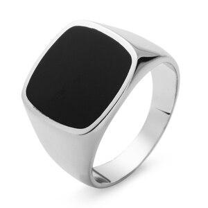 Image 1 - Eulonvan luxe breloques fiançailles mariage 925 en argent sterling bijoux anneaux pour hommes noir résine livraison directe S 3816 taille 6   13