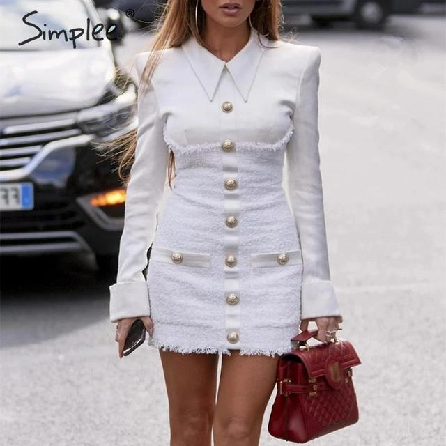 Simplee Streetwear women office dress Patchwork single breasted plus size dress Elegant ladies autumn blazer mini bodycon dress