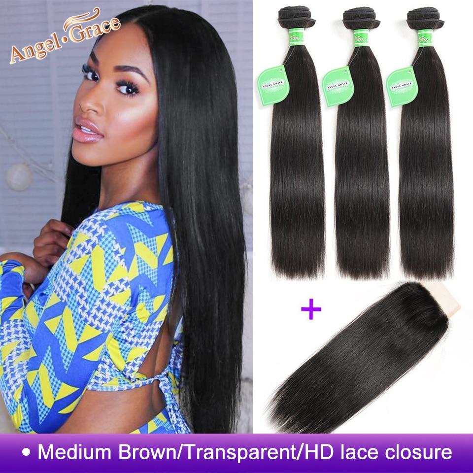 Angel Grace Hair Brazilian Straight Hair Bundles With Transparent HD Lace Closure Remy Human Hair Weave Innrech Market.com