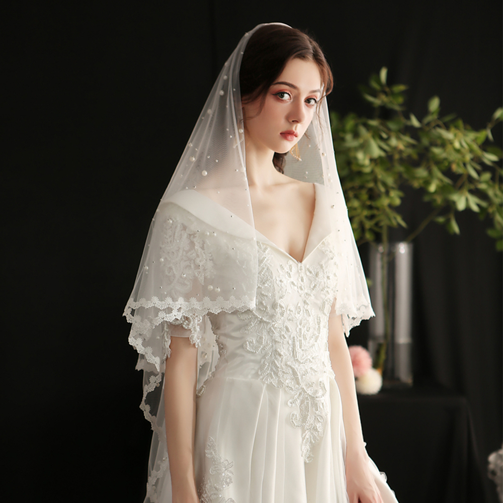 V650 White plain beaded short veil women church vintage sex mixed pearl cathedral lace bridal wedding veil for bride