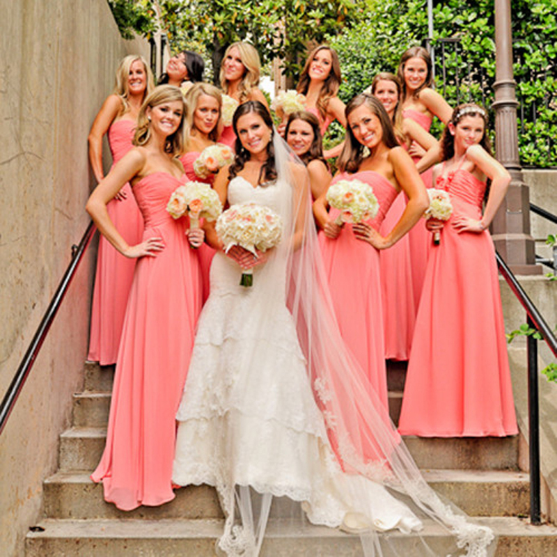 New Arrival 2018 A-Line Floor Length Pleat Backless Sweetheart Chiffon Bridesmaid Gowns Lace Long Coral Bridesmaid Dresses