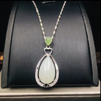 Hetian white jade pendant S925 silver jade necklace For Women Party Gift Fine Jewelry Christmas Gift