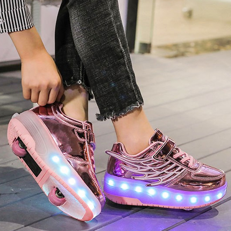 2019 New Season Fashion Roller Skates Shallow Mouth Shoes Boys Girls Roller Leisure Shoes With Wheels For Kids Adults LBY