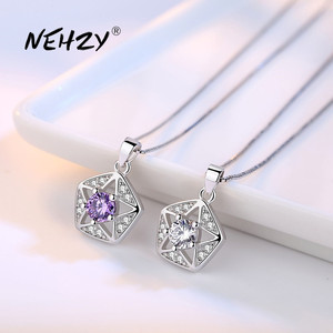 NEHZY 925 Sterling Silver Necklace Pendant Fashion Jewelry New Style Woman Star Purple Crystal Zircon Necklace Length 45CM