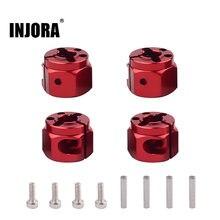 INJORA, rueda de Metal de 12mm, cubo hexagonal de extensión de ancho de 8/10/12MM para 1/10 RC Crawler Axial SCX10 90046 D90 TF2 MST Tamiya RC, piezas de coche