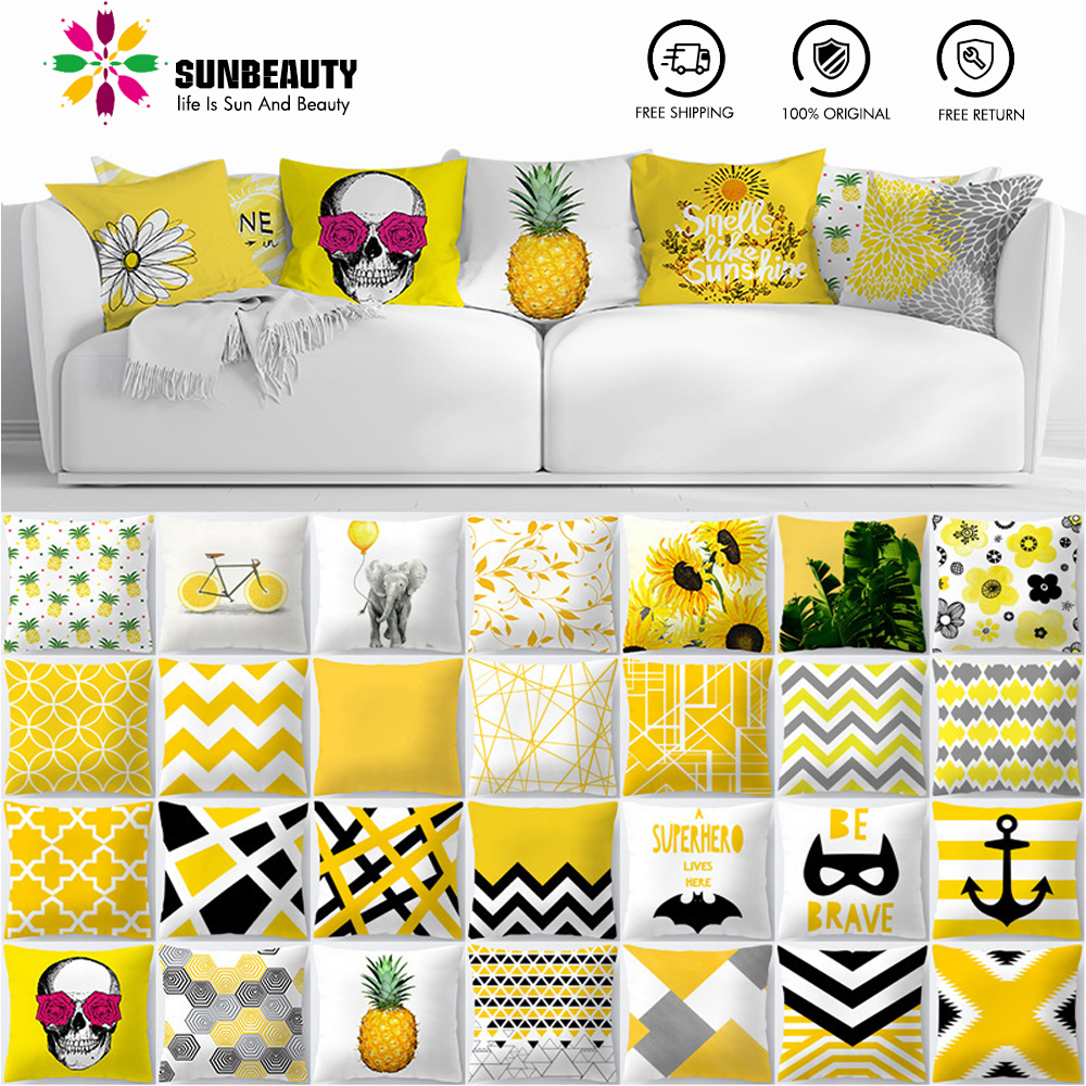 Decorative Throw Pillow Covers Yellow Hawaiian Tropical Summer Cushion Covers 45x45cm Pillow Case Home Decor Sofa Living Room