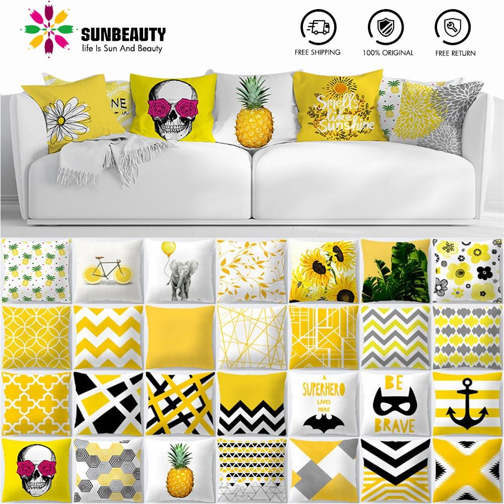 Decorative Throw Pillow Covers Yellow Hawaiian Tropical Summer Cushion Covers 45x45cm Pillow Case Home Decor Sofa Living Room