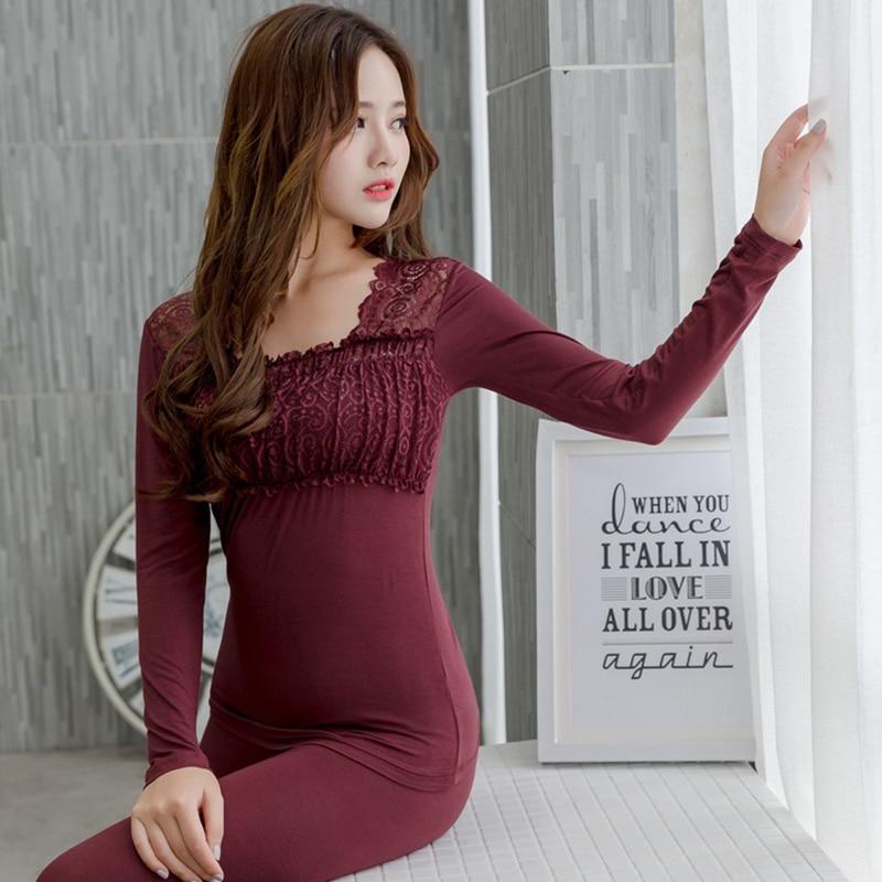 Thermal Cotton Sexy Lace Lingerie Underwear Sets For Women Autumn Winter Long Sleeve Warm Body Shaper Pajamas Bodysuit Sleepwear