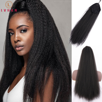 LVHAN Extension Clip Synthetic Kinky 22 Inch Drawstring Ponytail Hair Straight Hairpieces With Elastic Band Comb - discount item  35% OFF Synthetic Hair