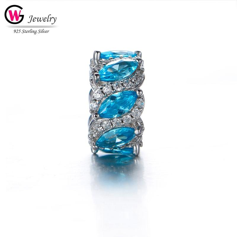 Élégant 2019 perles breloque brillant pendentifs Fit pour Pandora Bracelet breloque bricolage femmes bijoux amour cadeau perles bleu ciel couleur femme
