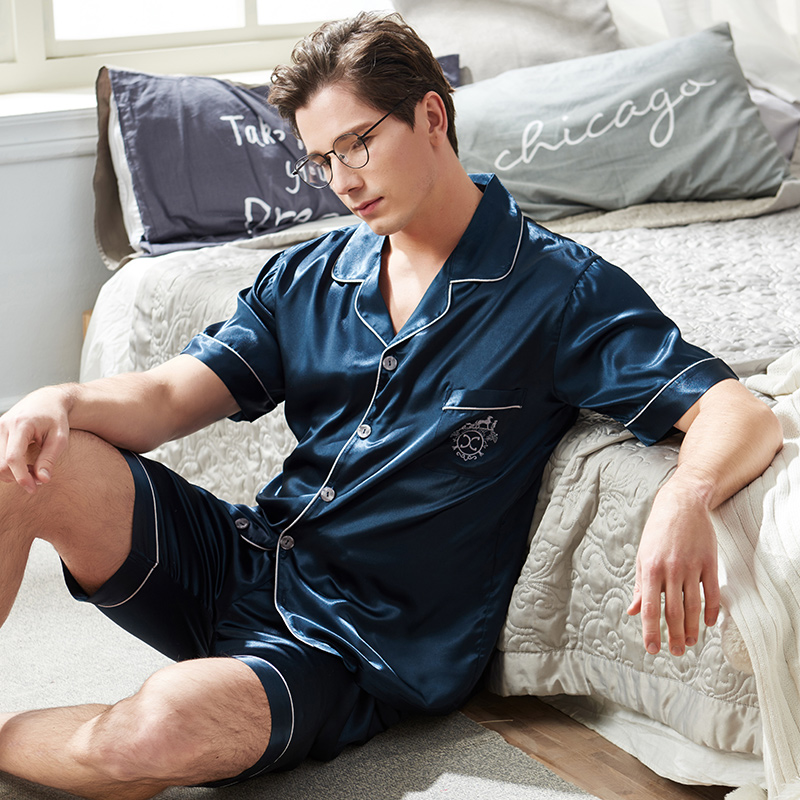 2020 New Men Silk Satin Pajamas Set Summer Europe Male Cardigan Plus Size Ice Silk Pyjama Short-sleeved Shorts Pijama Hombre