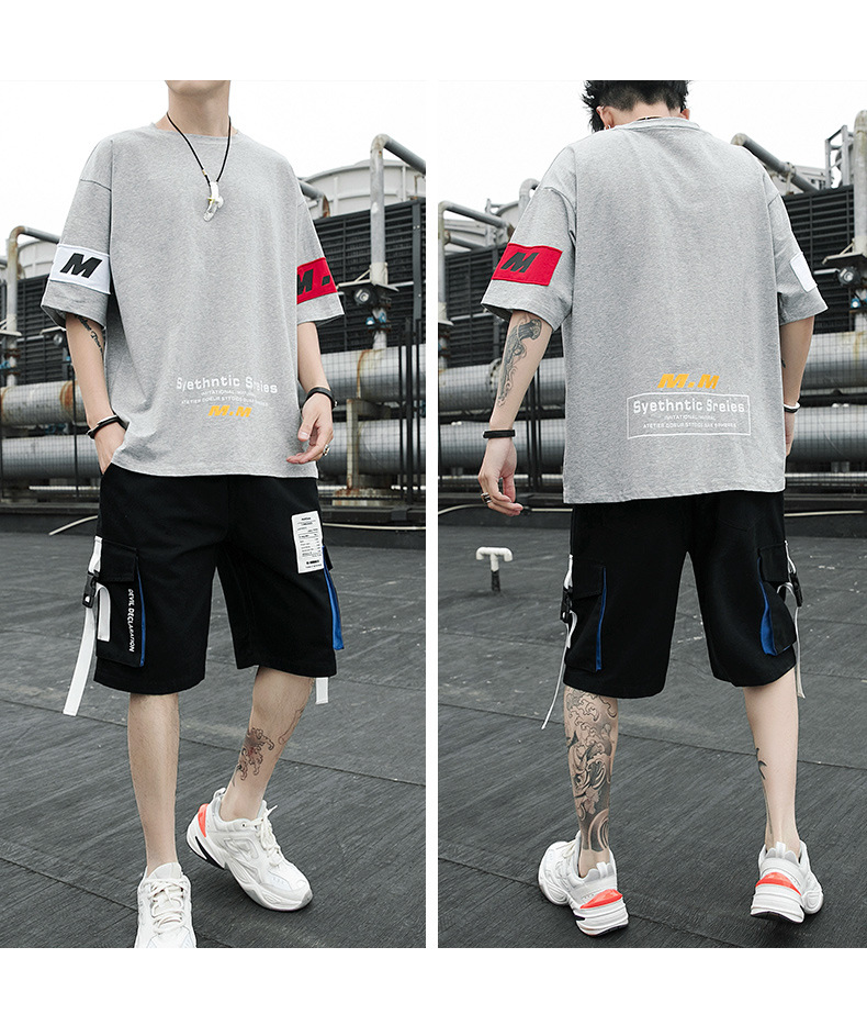 50% OFF! Summer 2020 Men's Clothing Set Casual Letter Printed Short Clothing Set For Men 5 Colors Size M to 5XL J9570-97908-E