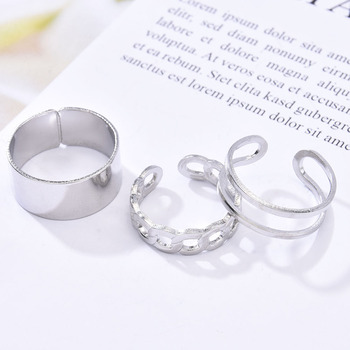 3pcs Hip Hop Punk Open Ring Men Women Jewelry Party Accessories Goth Ring Personality Three Finger Conjoined Chain New Trend