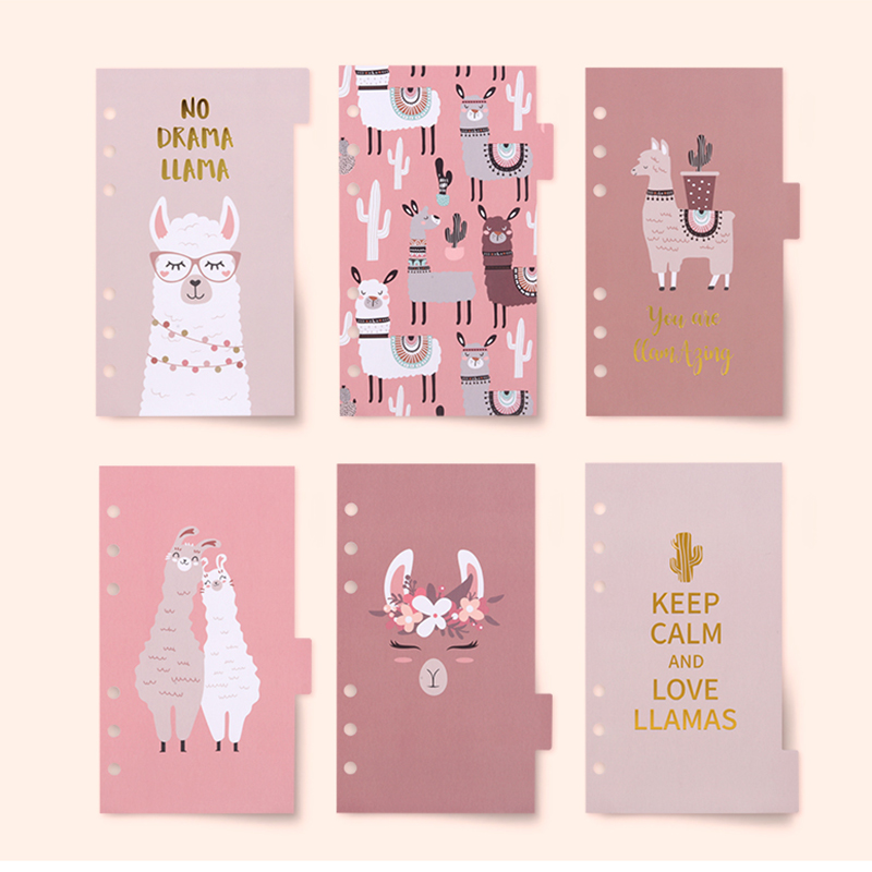 Never Cute Alpaca Spiral Planner Refill Filler Paper A6 Notebook Dividers Index Bookmark Agenda Organizer Accessories Stationery