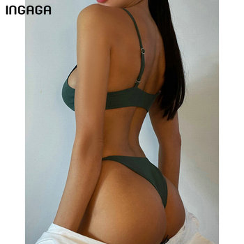 INGAGA Ribbed Bikinis Women's Swimsuits Sexy Ring Swimwear Women Push Up Biquini Micro Thong Bathing Suits Brazilian Bikini Set 2