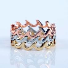 Modyle Rosa nuevo color dorado/plateado llama simple giro geométrico anillo moda señora lujo boda fiesta anillo regalo
