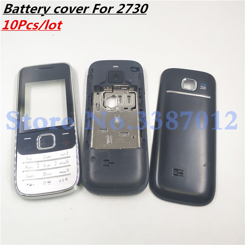 10Pcs/Lot New Full Housing For <font><b>Nokia</b></font> 2730C <font><b>2730</b></font> Front Faceplate Frame Cover Case+Back cover/battery door cover+Keypad image