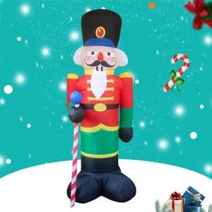 Image 1 - 240cm Nutcracker Air Inflatable Santa Claus Outdoor Christmas Decorations for Home Yard Garden Decor Merry Christmas noel 2019