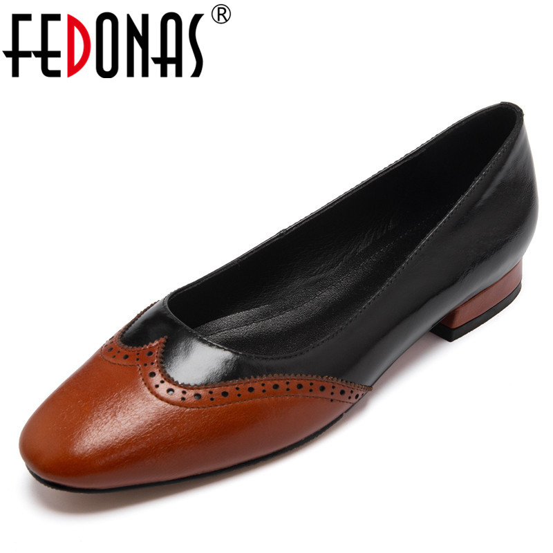 FEDONAS Vintage Pumps Women Spring Summer Four Seasson Basic Office Party Shoes Woman Genuine Leather Round Toe Shallow Pumps