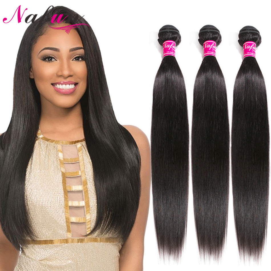 NAFUN Brazilian Hair Weave Bundles 30 Inch Bundles Straight Human Hair Bundles Non-Remy Hair Extensions Middle Ratio Hair Waving