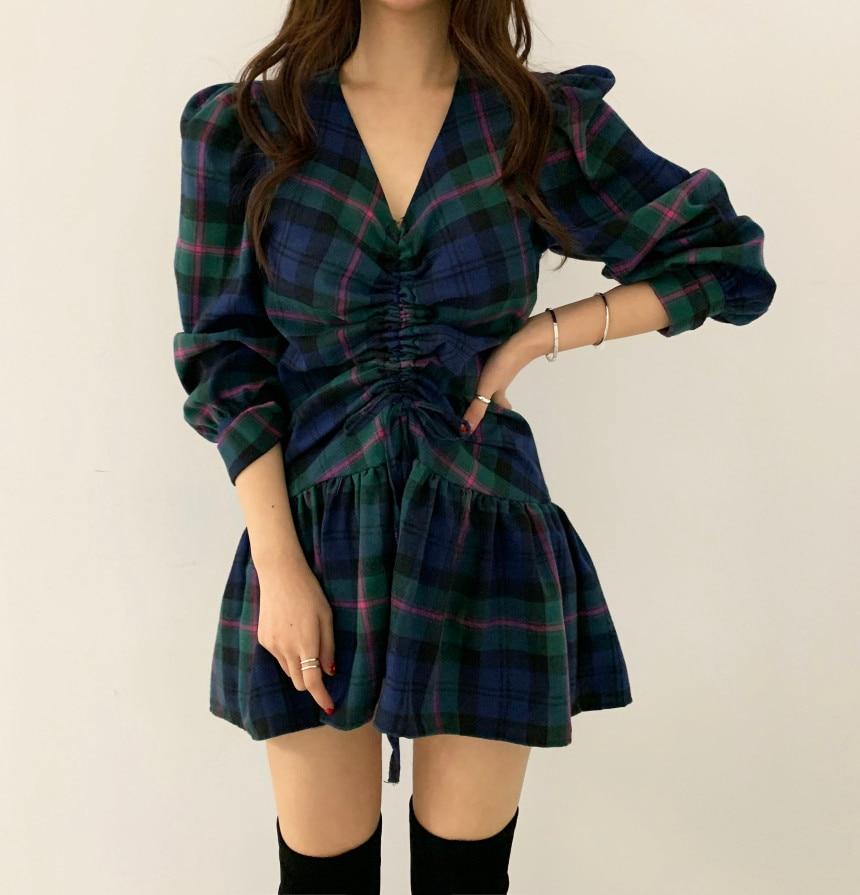 Hf1f88c5e734849e1baea73cdfc59c7edr - Autumn V-Neck Puff Sleeves Waist-Controlled Color-Hit Plaid Drawstring Mini Dress