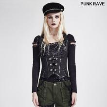 Punk mundur wojskowy kamizelka koszula Gothic klasyczny black rock paskiem kamizelka kobiety na co dzień tajemniczy Cosplay gorset Punk Rave Y-686 tanie tanio COTTON zipper Przycisk Zamki O-neck Stałe REGULAR W stylu Punk outerwear coats Women Vest
