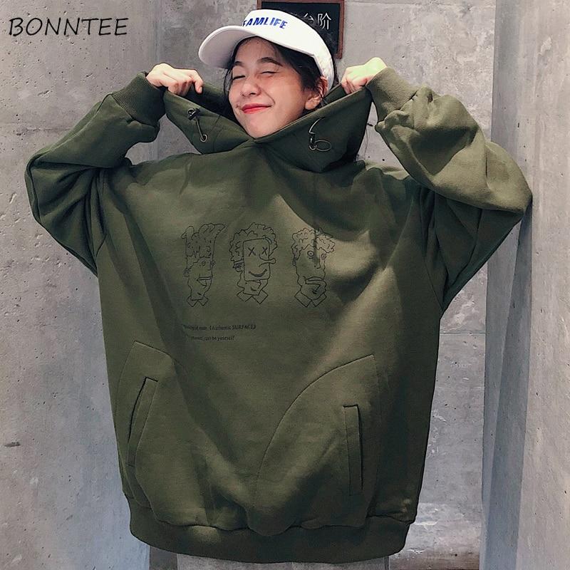 Hoodies Women 2020 Korean Style Streetwear Student Trendy Loose Thin Open Printed Simple Fashion Womens Sweatshirts Chic Casual