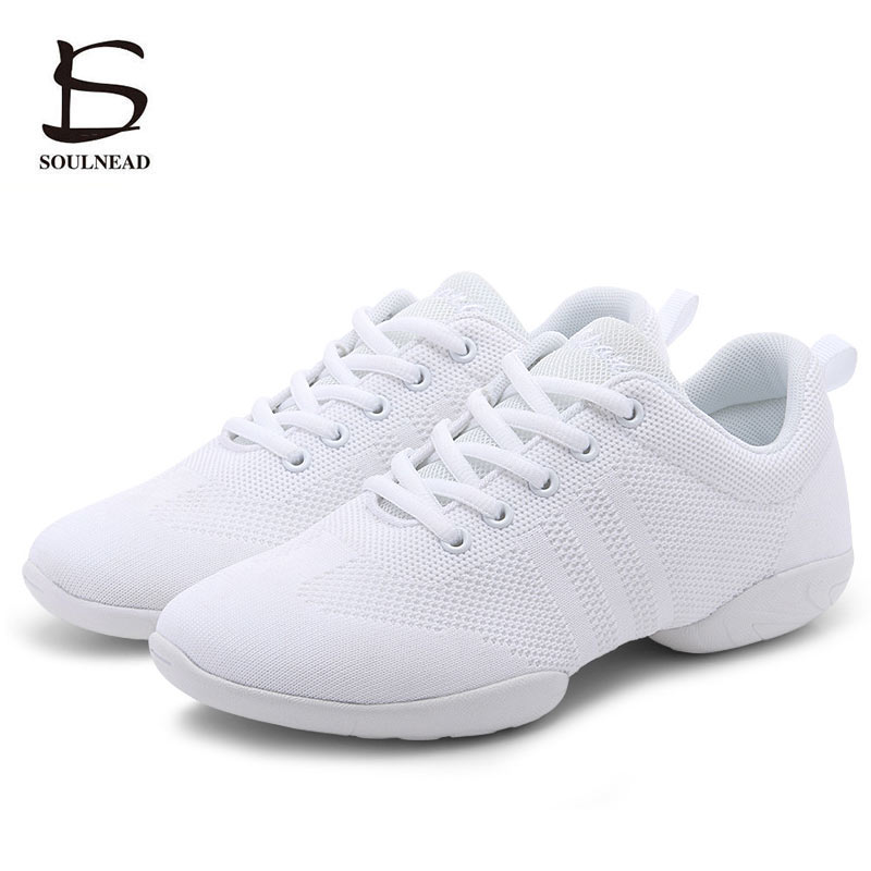 Kids Adult Aerobics Shoes White Hip-hop/Jazz Dance Shoe Women Girls Competitive Shoes Soft Sole Fitness Dance Sneakers Size28-44