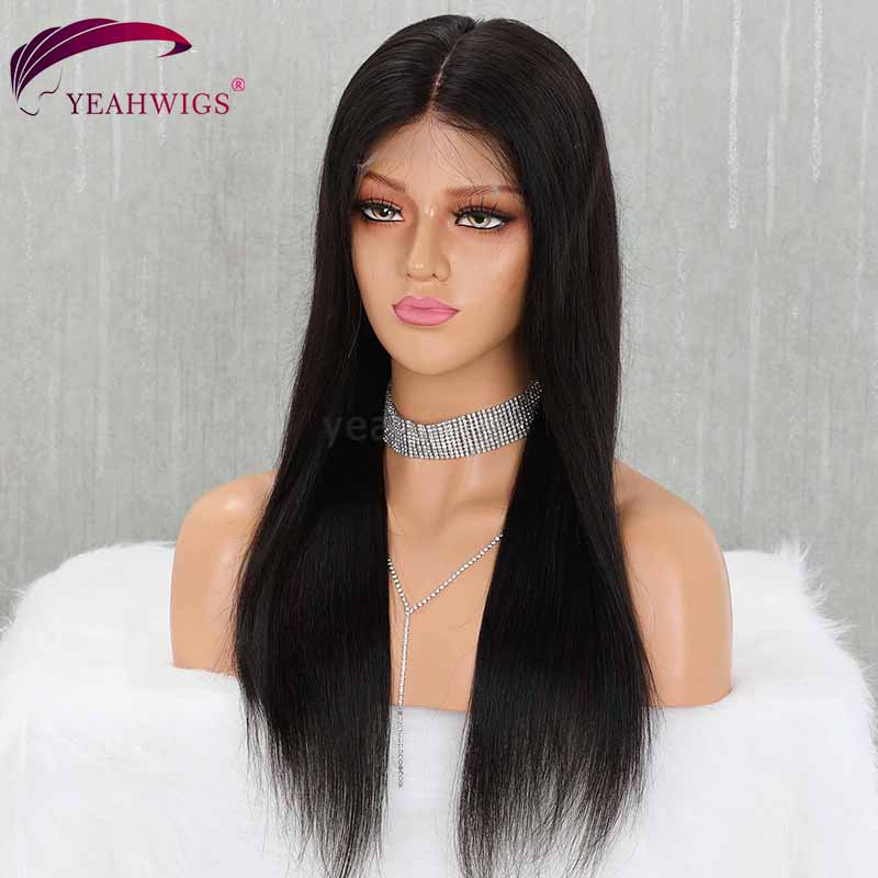 Yeahwigs Straight 370 Lace Frontal Wig Remy 150% Density Preplucked Lace Wig