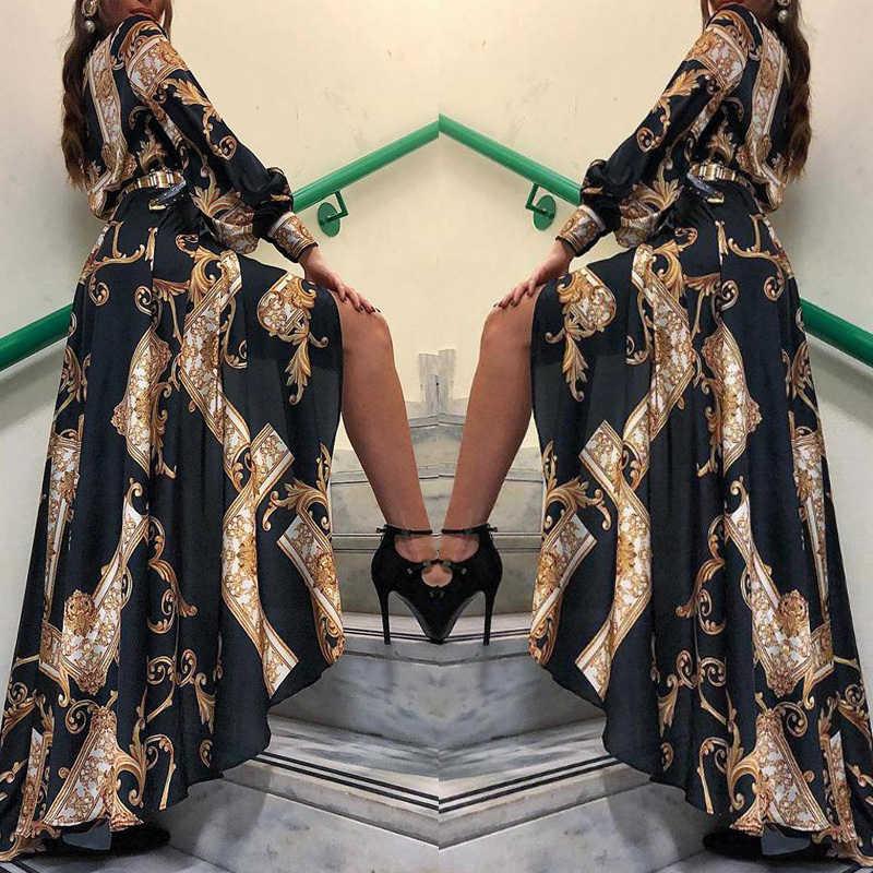 2019 Elegan Fashion Wanita Maxi Gaun Kasual Bodycon Hem Tidak Teratur Gaun Wanita Vintage Baroque Dicetak Panjang Gaun Musim Gugur
