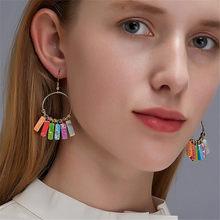 Modyle pedra natural resina balançar brincos para as mulheres do vintage geométrico colorido gota brinco moda jóias 2020