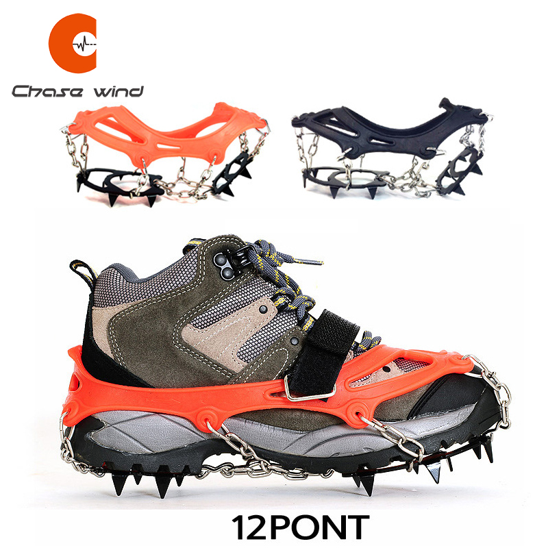 1 Pair Antiskid 12 Teeth Crampons Outdoor Manganese Steel Non-slip Shoe Covers Climbing Winter Ice Snow Walking Climbing Gear
