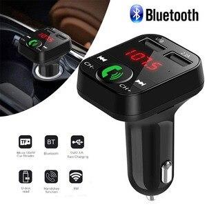 Image 1 - Rovtop דיבורית אלחוטי Bluetooth לרכב משדר FM TF כרטיס LCD MP3 נגן USB 2.1A רכב מטען טלפון מטען z2