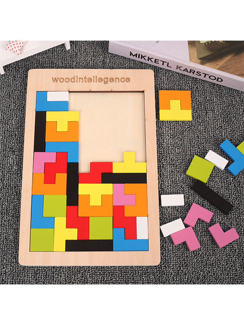 Wooden Tangram Math-Toys Tetris-Game Intellectual 3d Puzzle Magination Colorful Kids