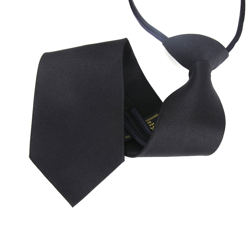 Men Zipper Tie Easy To Pull Lazy Necktie 7cm Classic Solid Neckwear Cravat Choker Ladies Dress Meeting Women Wedding Black