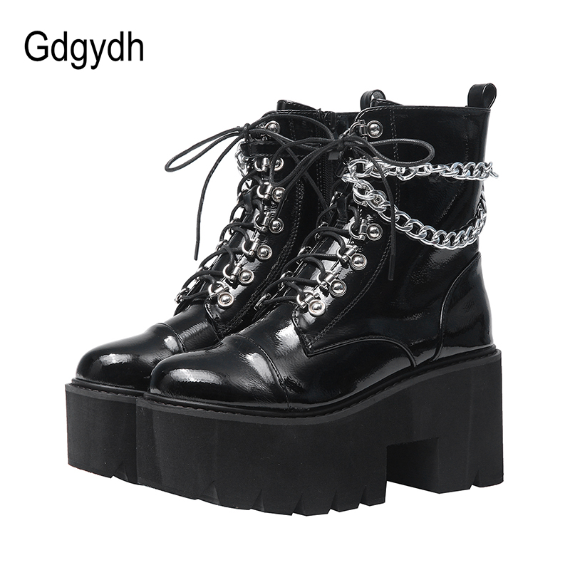 Gdgydh Patent Leather Gothic Black Boots Women Heel Sexy Chain Chunky Heel Platform Boots Female Punk Style Ankle Boots Zipper
