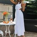 Женское ажурное платье с открытой спиной, повседневное ТРАПЕЦИЕВИДНОЕ ПЛАТЬЕ с вырезом лодочкой на бретельках и высокой талией, праздвечер...