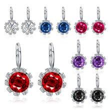 Luokey coreano moda redonda cristal zircon brinco para as mulheres colorido sol flor brincos 2020 jóias boucle doreille femme