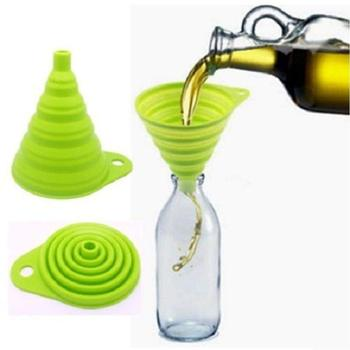Food grade silicone FDA approved silicone small folding funnel,silicone collapsible funnel image